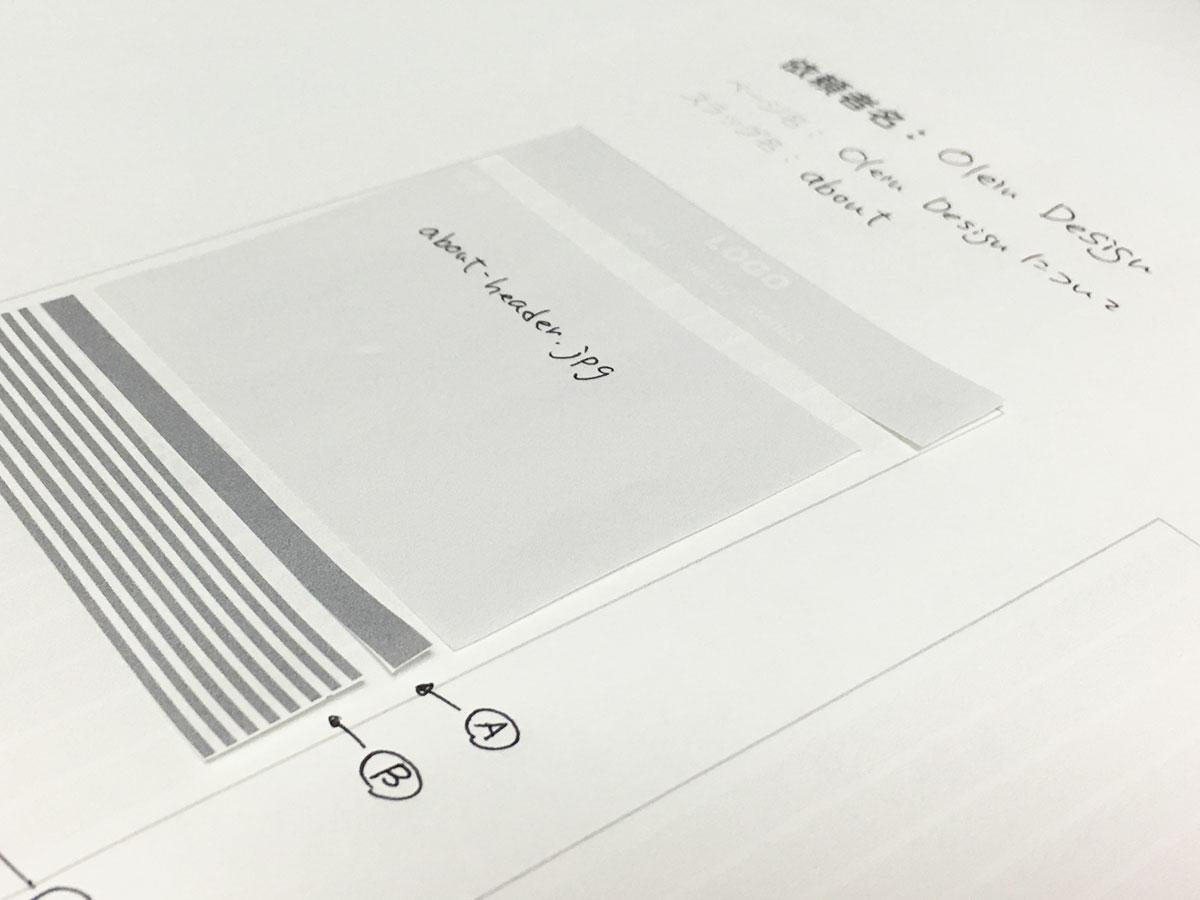 このように切り貼りしてレイアウトを作成し、テキストや画像の指示を書き込んでください。